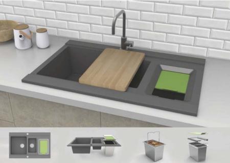 Projekt koncepcyjny zlewu kuchennego z uwzględnieniem segregacji odpadów organicznych
