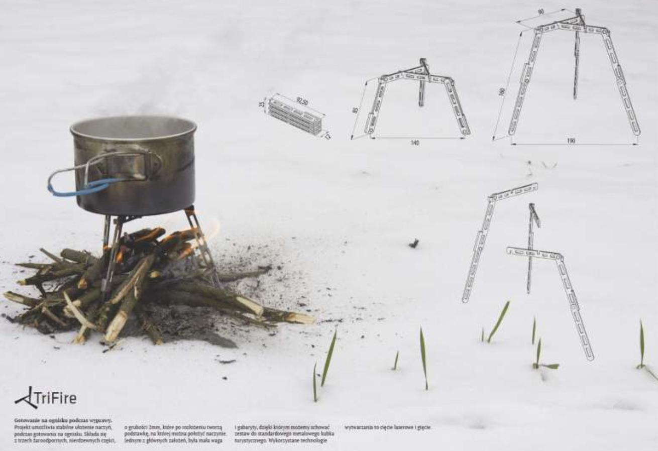 TriFire Projekt umożliwia stabilne ułożenie naczyń, podczas gotowania na ognisku.