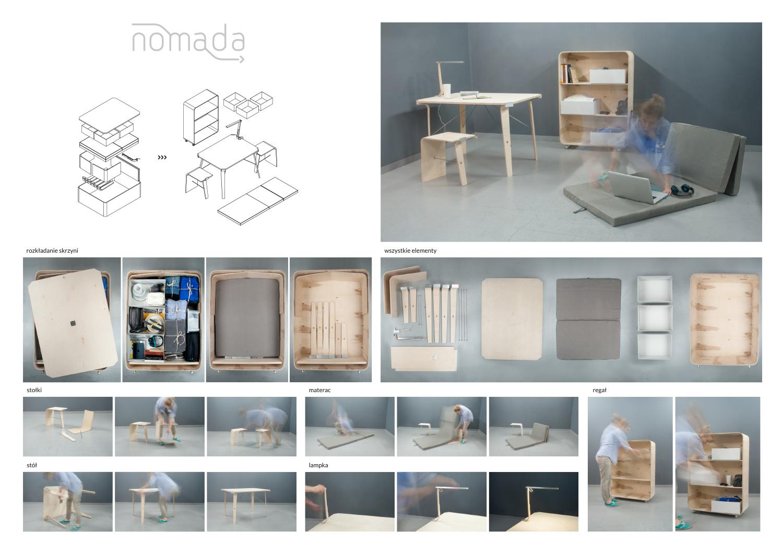 Nomada - modułowy zestaw składający się z podstawowych mebli