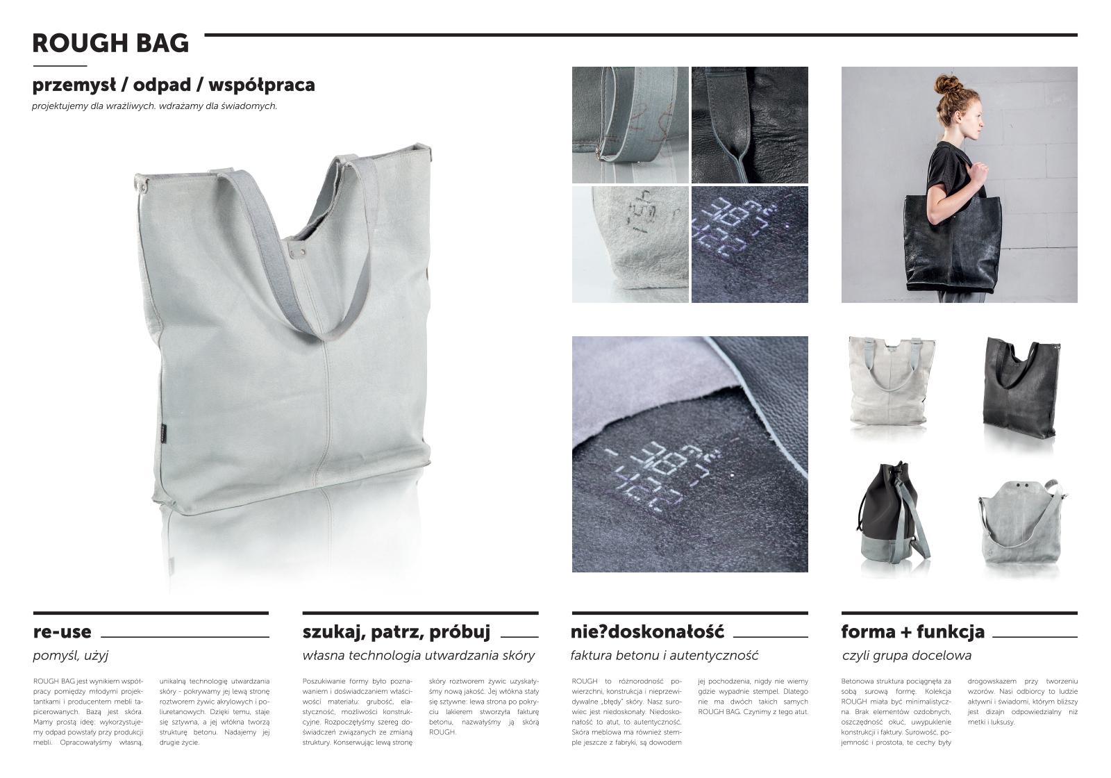 Rough bag - seria toreb z odpadów skór