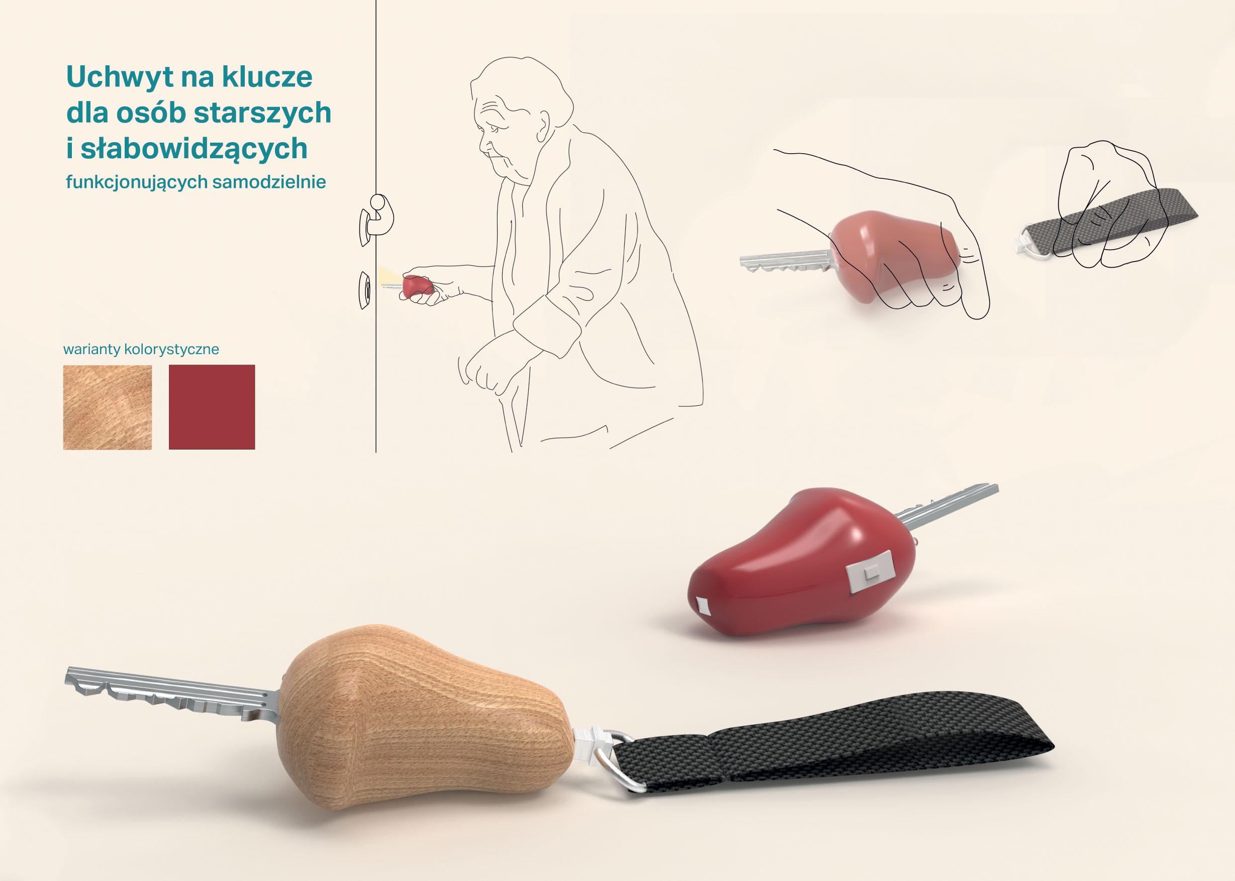 Uchwyt na klucze dla osób starszych i słabowidzących, funkcjonujących samodzielnie