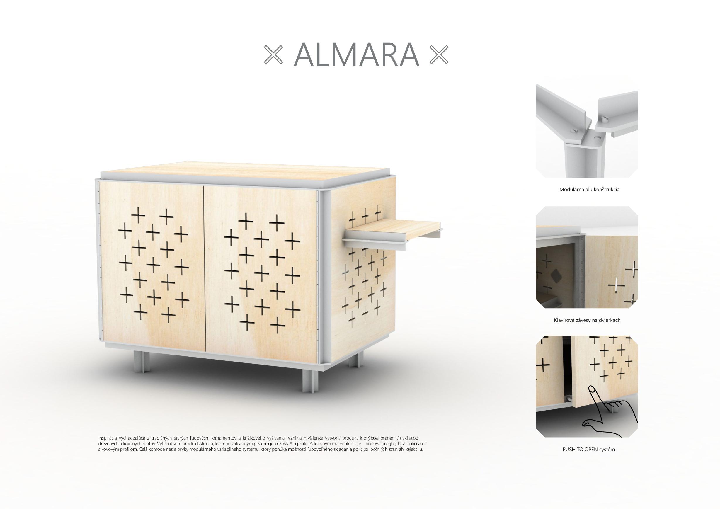Inspiracja oparta na tradycyjnych starodawnych ozdobach ludowych i hafcie krzyżykowym. Powstał pomysł, aby stworzyć produkt, który będzie wyskakiwał również z ogrodzeń drewnianych i kutych. Stworzyłem produkt Almara, którego podstawowym elementem jest profil krzyżowy Alu. Cała komoda zawiera elementy modułowego systemu zmiennego, który daje możliwość dowolnego złożenia półek po bokach budynku.