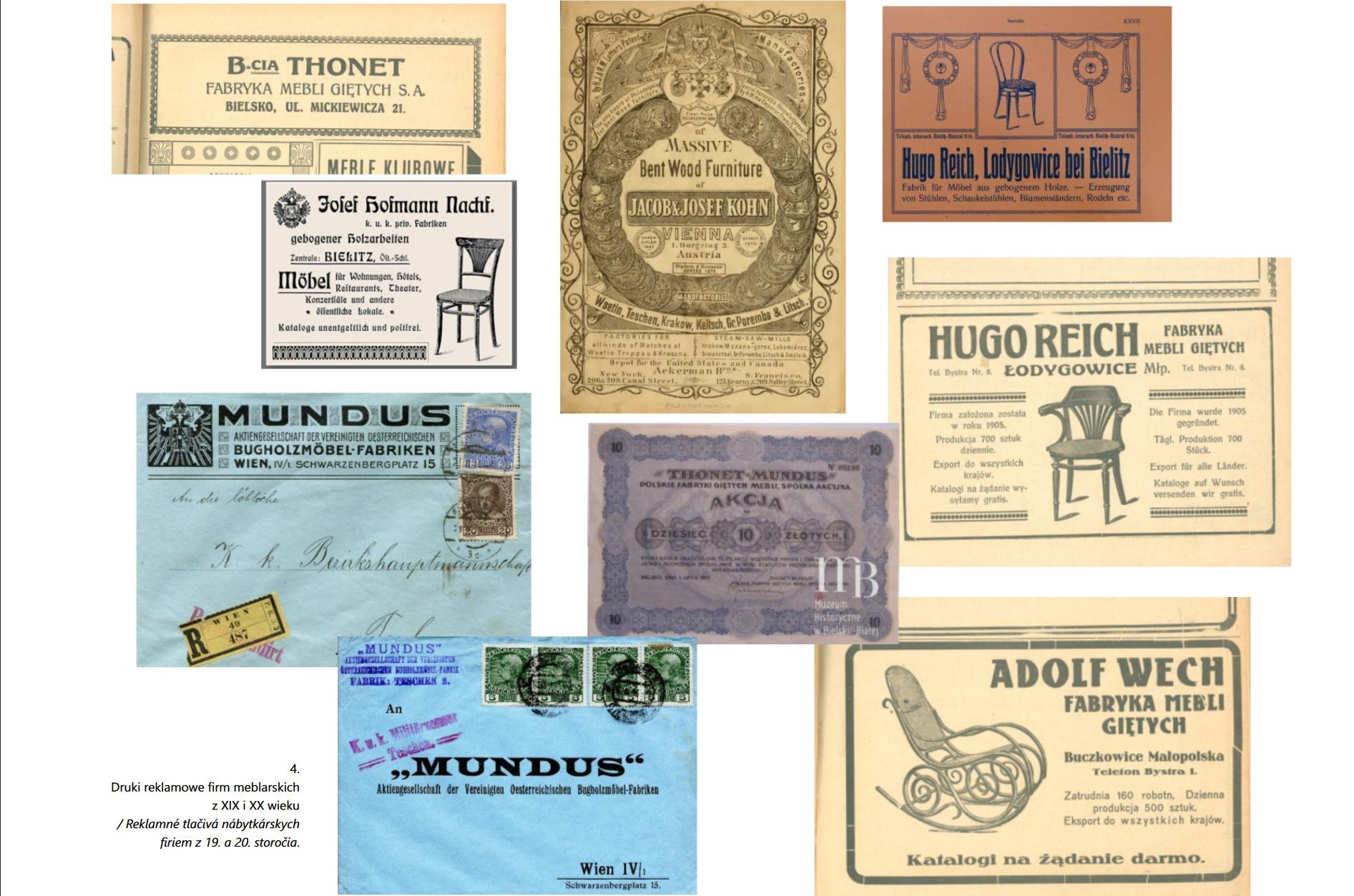 Druki reklamowe firm meblarskich z XIX i XX wieku