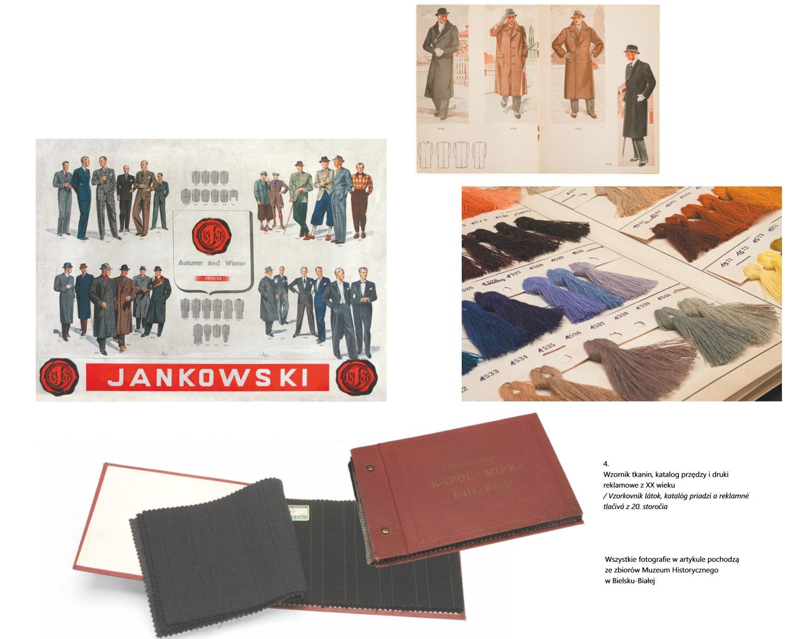Wzornik tkanin, katalog przędzy i druki reklamowe z XX wieku