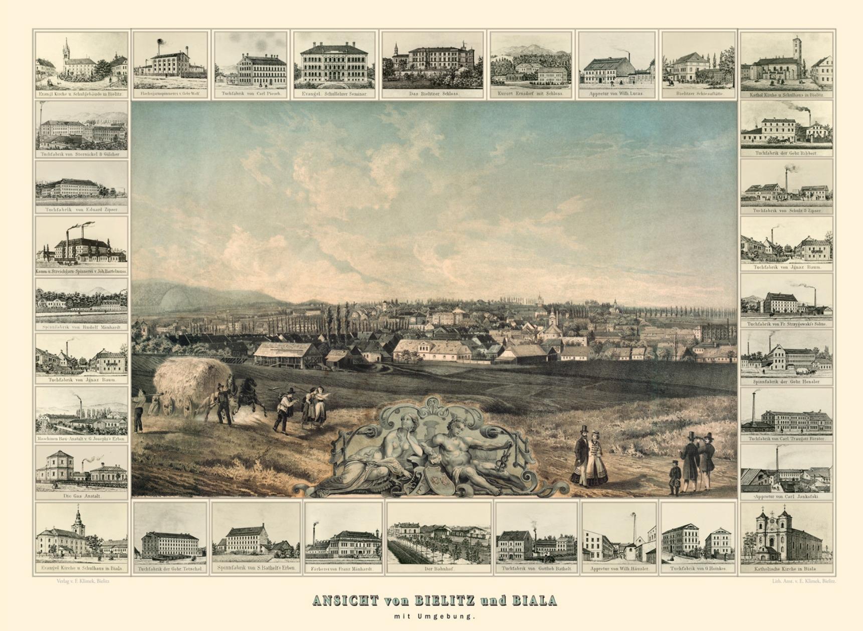Widok Bielska i Białej z okolicą, Carl Bollmann
